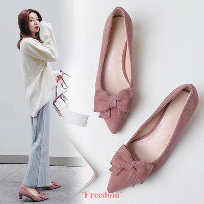 Freedom~女鞋2019春季新款正韓真皮蝴蝶結百搭高跟鞋尖頭低跟單鞋粗跟女婚鞋子
