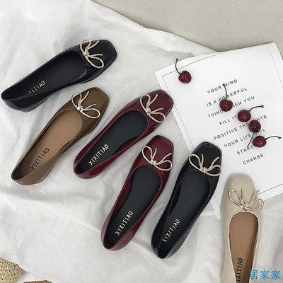 居家家  韓版甜美蝴蝶結單鞋女平底復古紅色方頭淺口芭蕾舞鞋果凍鞋瓢鞋