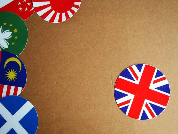 【衝浪小胖】英國旗圓形登機箱貼紙/抗UV防水/UK/世界多國款可收集和客製