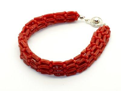 紅珊瑚手鍊 天然台灣紅珊瑚 手工編織手鍊 附保證書