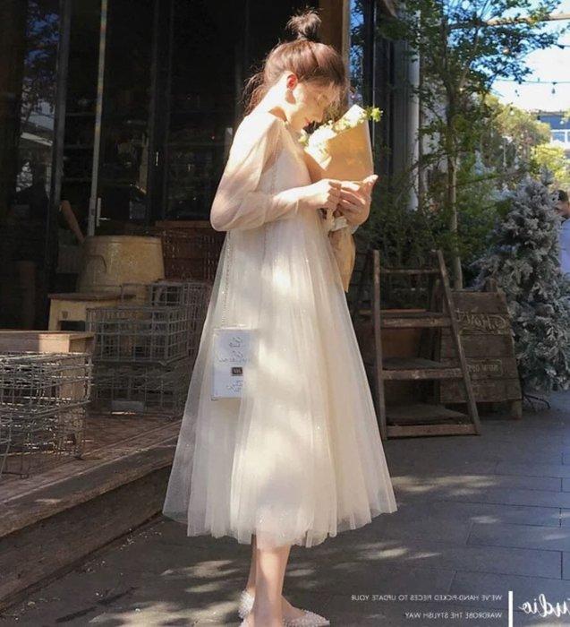 【17LOVE】超仙新款! 高腰雪紡紗透膚紗質公主裙 文青娃娃裝長袖中長洋裝 貴婦約會孕婦寫真 黑白杏粉紗裙 正韓空運