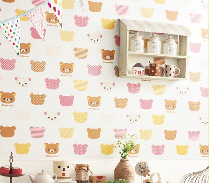 【Uluru】日本進口壁紙 Rilakkuma 拉拉熊 壁紙 小孩房 兒童房壁紙 日本製