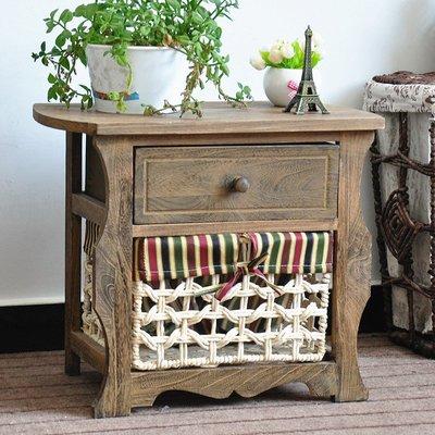 鄉村美式 2層櫃 1格整理書雜誌籃架 原木床邊小矮桌 木桌 二層木櫃 1格抽屜櫃 2格層櫃 二層轉角邊櫃 收納櫃 置物櫃