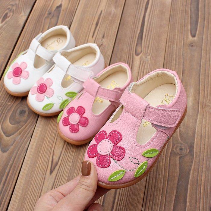 [C.M.平價精品館]新品特價21~30碼可愛立體花朵透氣舒適軟底防滑白色/粉色女童學步鞋/皮鞋  小中童