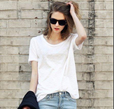 韓國 上衣 短袖T恤S-3XL 歐美新款純色圓領寬鬆大碼百搭竹節棉T卹T305.8321 胖胖美依