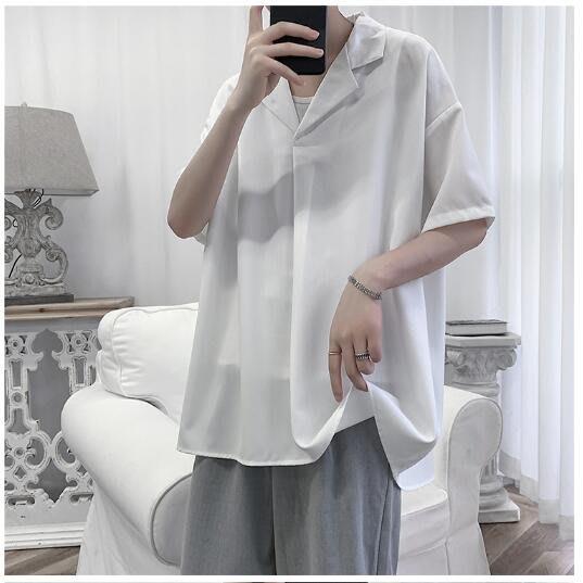 FINDSENSE X  男士 薄款 數字印花 短袖襯衫 男 上衣情侶襯衣潮襯衫 西裝襯衫