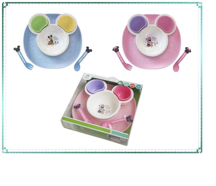 【Q寶寶】日本 迪士尼 Disney 兒童餐具組 附湯匙叉子7件組 托盤 米奇 米妮 禮盒組 彌月禮_現貨