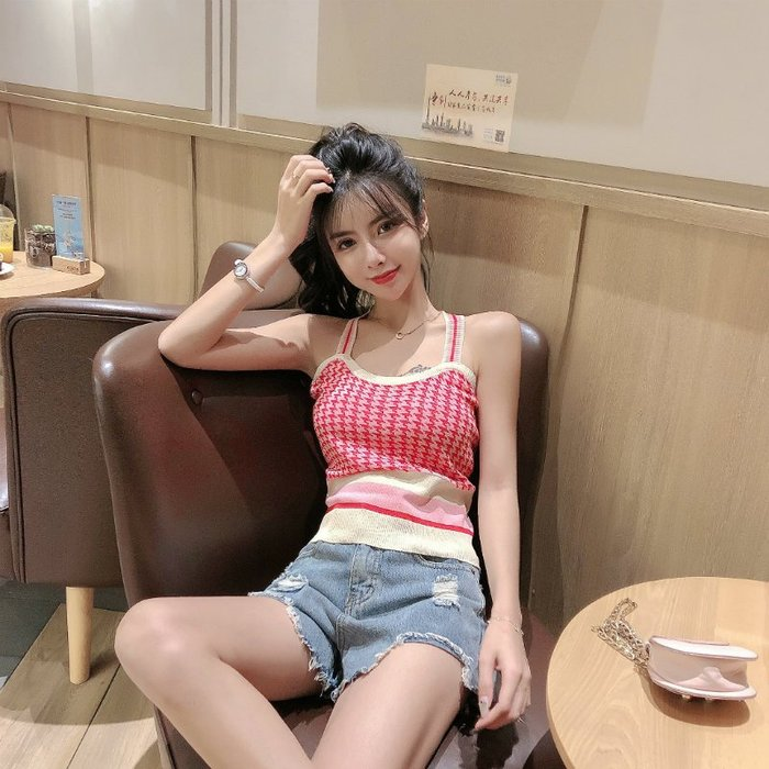 韓版 平口T恤 一字肩 復古時尚港味女薄款打底衫露背針織背心吊帶衫潮