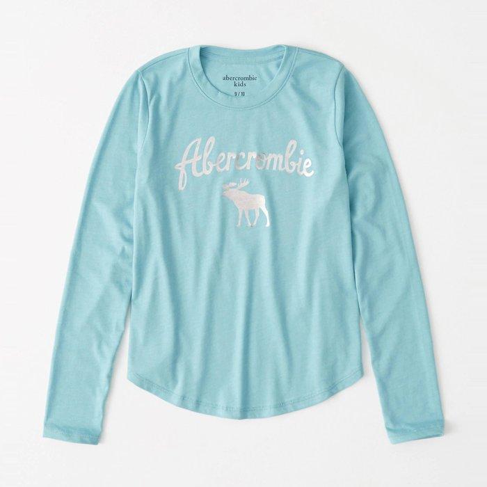 【abercrombie kids】【a&f】af女童款長袖T恤銀漆字鹿藍綠 F07191118-51