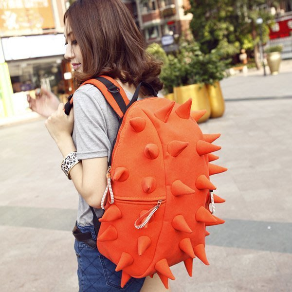 5Cgo【鴿樓】會員有優惠 17313924624 新款後背包 潮韓版個性學院風刺蝟包 帆布包旅行包 背包學生書包