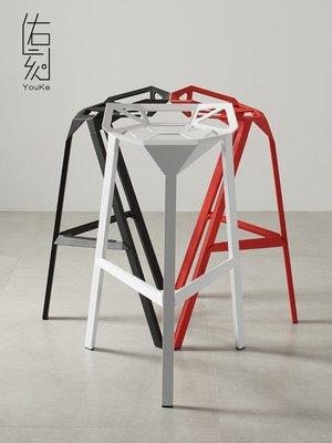 【美麗傢私店】北歐現代變形金剛椅創意幾何鋁合金吧凳美式鐵藝咖啡椅酒吧高腳凳(賣場價格隨便定的 需跟客服確定好價格后購買 則不出貨)