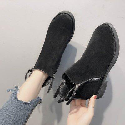 韓國休閒鞋 平底鞋內增高短靴女新款百搭韓版雙拉鏈馬丁靴英倫風復古學生女靴子ぐ帆布鞋豆豆鞋娃娃鞋牛津鞋樂福鞋紳士鞋