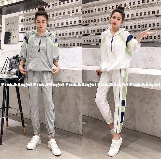 ❤Pink&Angel❤【64379】韓版帥氣休閒運動 短袖上衣+ 哈倫褲兩件式套裝。2色。現+預