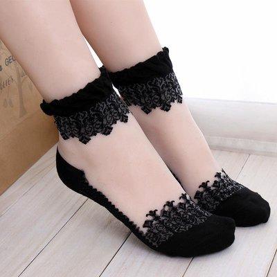 日系甜美復古可愛公主蕾絲花邊絲襪短襪堆堆襪超薄水晶襪子女學生