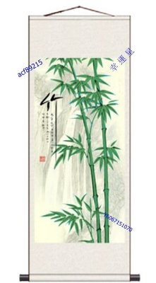 【幸運星】60*160cm 風水畫 竹子 圖 節節高昇 開運  絲綢畫 卷軸畫 國畫 GH 辦公室客廳  A142