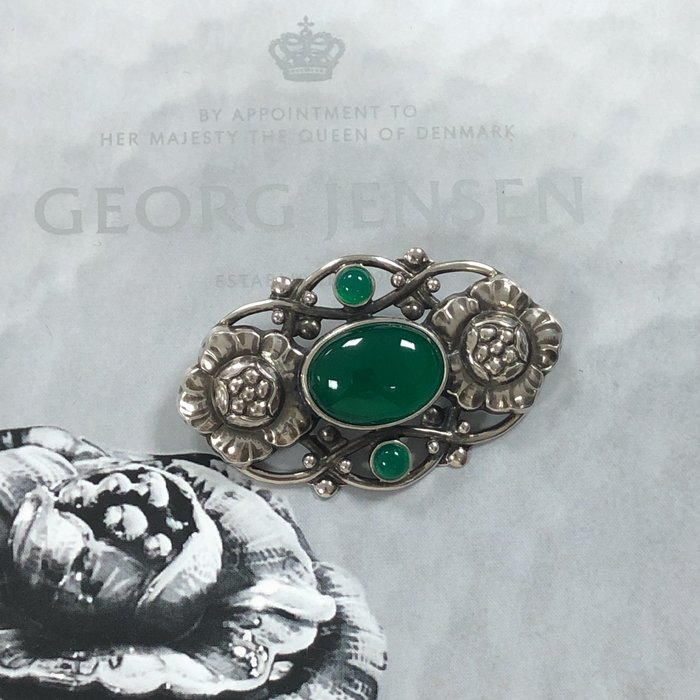 【小麥的店】GEORG JENSEN 喬治傑生 編號89 #89 純銀綠瑪瑙胸針