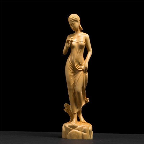 5Cgo【茗道】含稅會員有優惠 556462670128 黃楊木雕手把件實木臥室書房茶道家居飾品雕刻工藝品客廳人物美女像