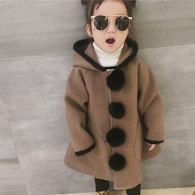 gogo購 中小童可愛毛毛球連帽大衣毛呢外套1071128