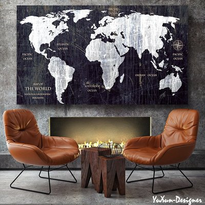 工業風 LOFT 美式 GLOBAL 世界地圖無框畫掛飾壁掛  掛畫裝飾畫 客廳民宿咖啡廳餐廳裝潢 §宥薰設計家