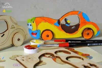 UGEARS 著色小噗噗 小汽車 CAR  輪子可以轉動讓車子向前滑行 不僅可以享受組裝的樂趣 不透明水彩