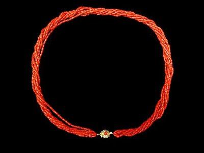 天然全紅沙丁珊瑚項鍊 創意7條轉...