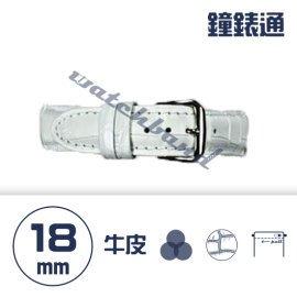 【鐘錶通】C1.08KW《繽紛系列》鱷魚壓紋-18mm 雪白┝手錶錶帶/高質感/牛皮錶帶┥