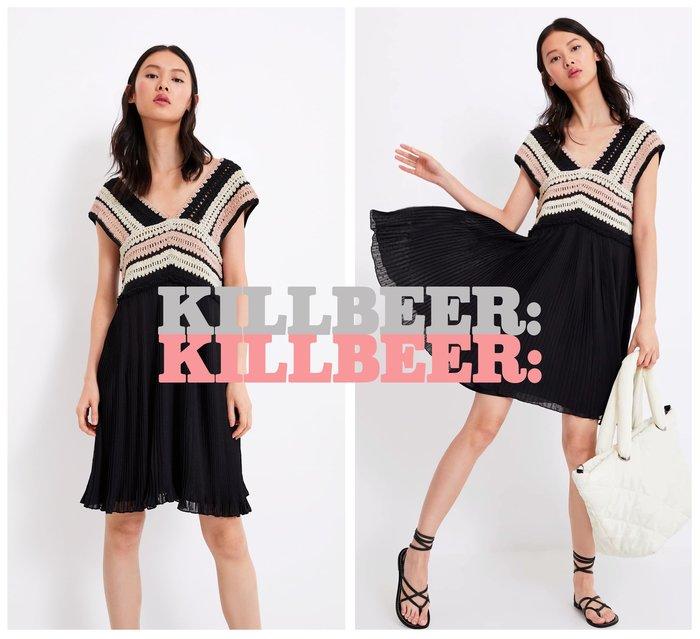 KillBeer:波希米亞嬉皮風之 歐美復古民族風彩色編織V領簍空水玉點點雪紡連身裙洋裝061701