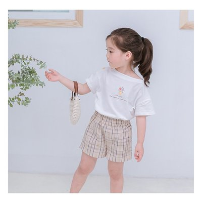 【Mr. Soar】 B496 夏季新款 韓國style童裝女童短袖T恤+短褲套裝 中大童 現貨