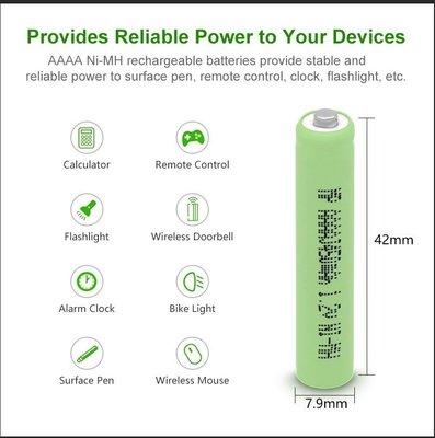 尖頭 AAAA 充電電池,400mAh,電壓1.2V,手寫筆 藍牙耳機 surface 觸控筆 電子筆 BT2040
