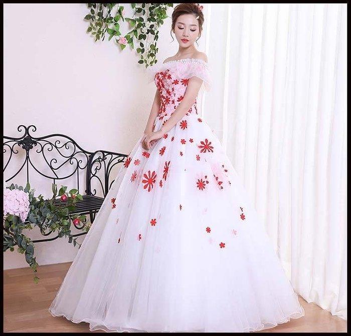 哆啦本鋪 婚紗禮服長款演出服蓬蓬裙影樓服裝主持晚禮服一字肩D655
