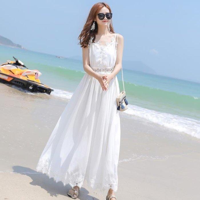 連身裙-沙灘裙女新款巴厘島度假裙夏季吊帶雪紡連身裙蕾絲露背長裙仙