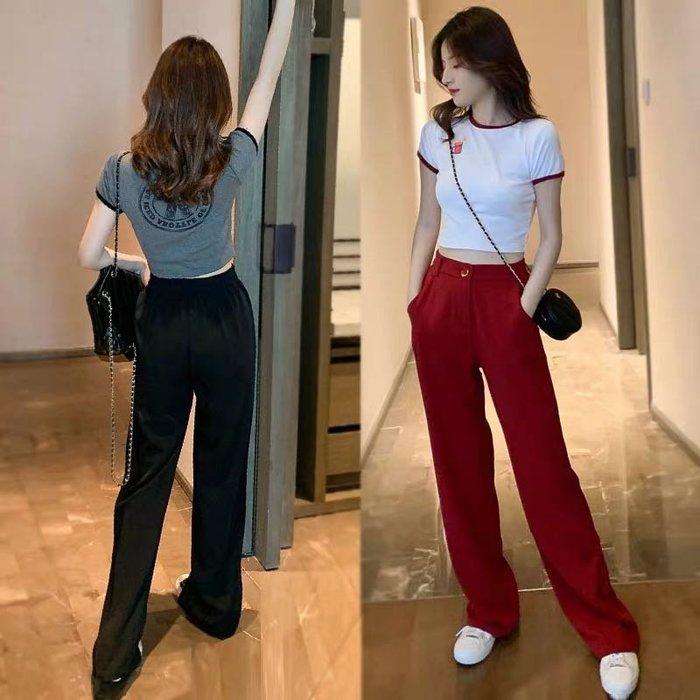 韓版休閒兩件式套裝短版T恤闊腿長褲
