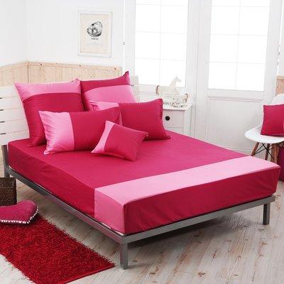 《60支紗》雙人床包/枕套/3件式【洋紅X胭脂粉】魔術方塊 100%精梳棉-麗塔寢飾- (出清品,下標前請詢問)