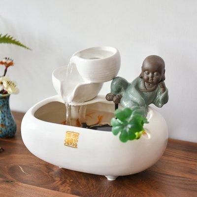 陶瓷流水噴泉擺件家居客廳中式禪意桌面加濕招財裝飾辦公室禮品小豬佩奇