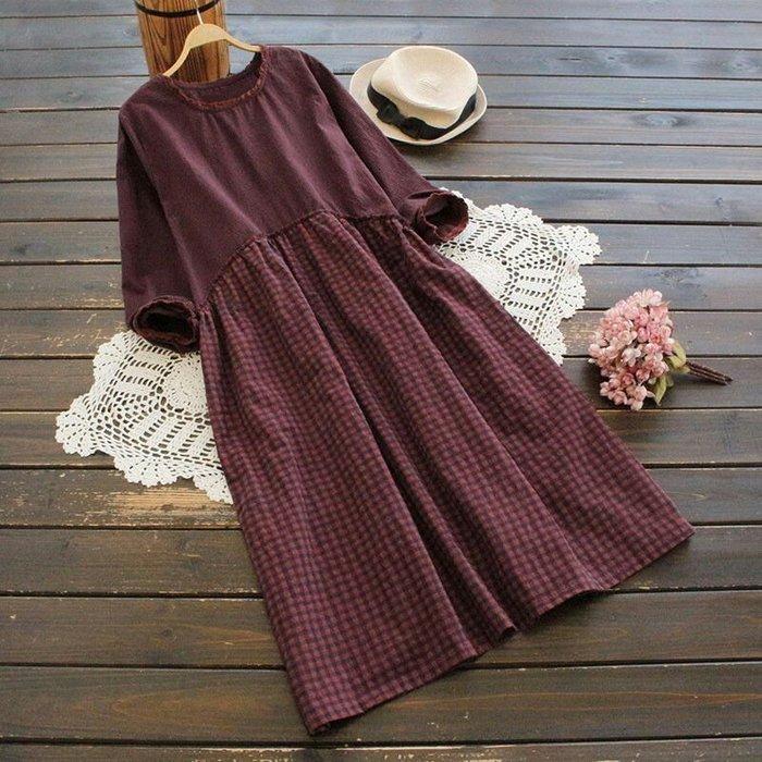 寬鬆格紋洋裝