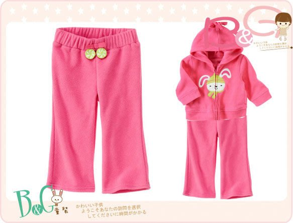 【B& G童裝】正品美國進口Crazy8粉紅色軟刷毛長褲6-12-18mos
