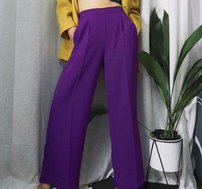 正韓女鞋舘~自制春秋高腰時尚紫色白色顯腿長闊腿褲女墜感直休閒松緊腰西裝褲