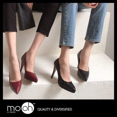 防水台高跟鞋 尖頭素面前高後高細跟高跟鞋 黑色 mo.oh(韓國鞋款)