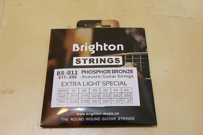 Brighton BS-11, 民謠吉他琴弦, 0.011-0.05吋, 布萊頓, 青銅色, 南韓設計