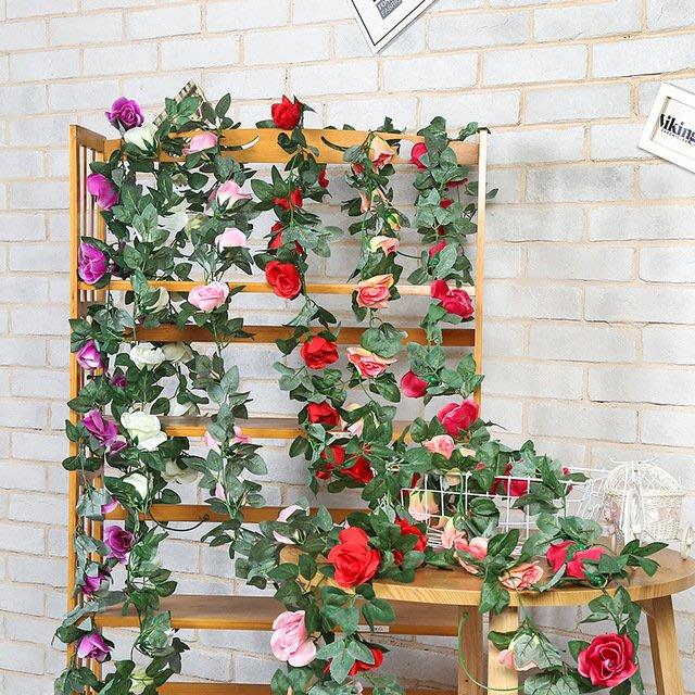 浪漫居家佈置 婚禮佈置 仿真玫瑰花藤條 16朵玫瑰花 多色可選 拍照背景 花藝園藝牆面裝飾 陳設花園造景|悠飾生活|