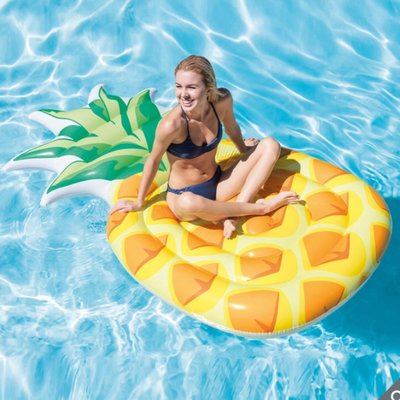 Intex 鳳梨充氣浮排 水上活動 泳圈 浮板 附修補片 (長211x寬113x高23公分)