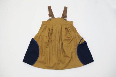 日本設計師童裝品牌 nunu 女童吊帶裙(卡其色/藍色)- size S日本設計製造 clearance sale