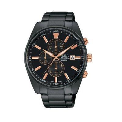 可議價「1958鐘錶城」ALBA雅柏 情人節對錶 男款 三眼計時 石英腕錶(AM3263X1) 43mm