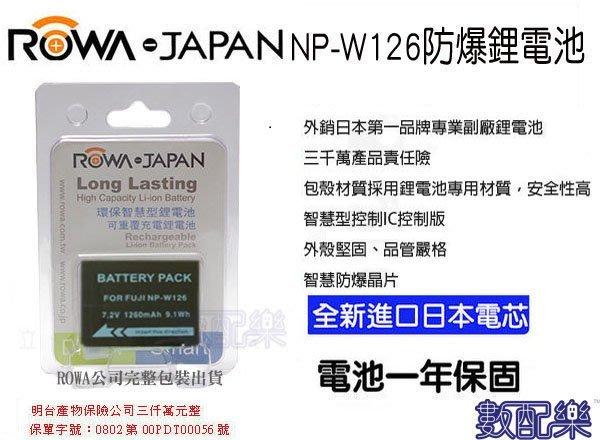免運 數配樂 ROWA FUJI 富士 NP-W126 鋰電池 XE1 XE2 XT1 X-PRO1 HS33EXR