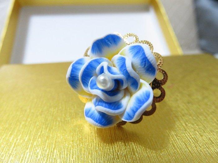 純手作 ~~可調式金色花邊戒指~~藍花珍珠款~~♡TUNG手作卡片、飾品♡~~