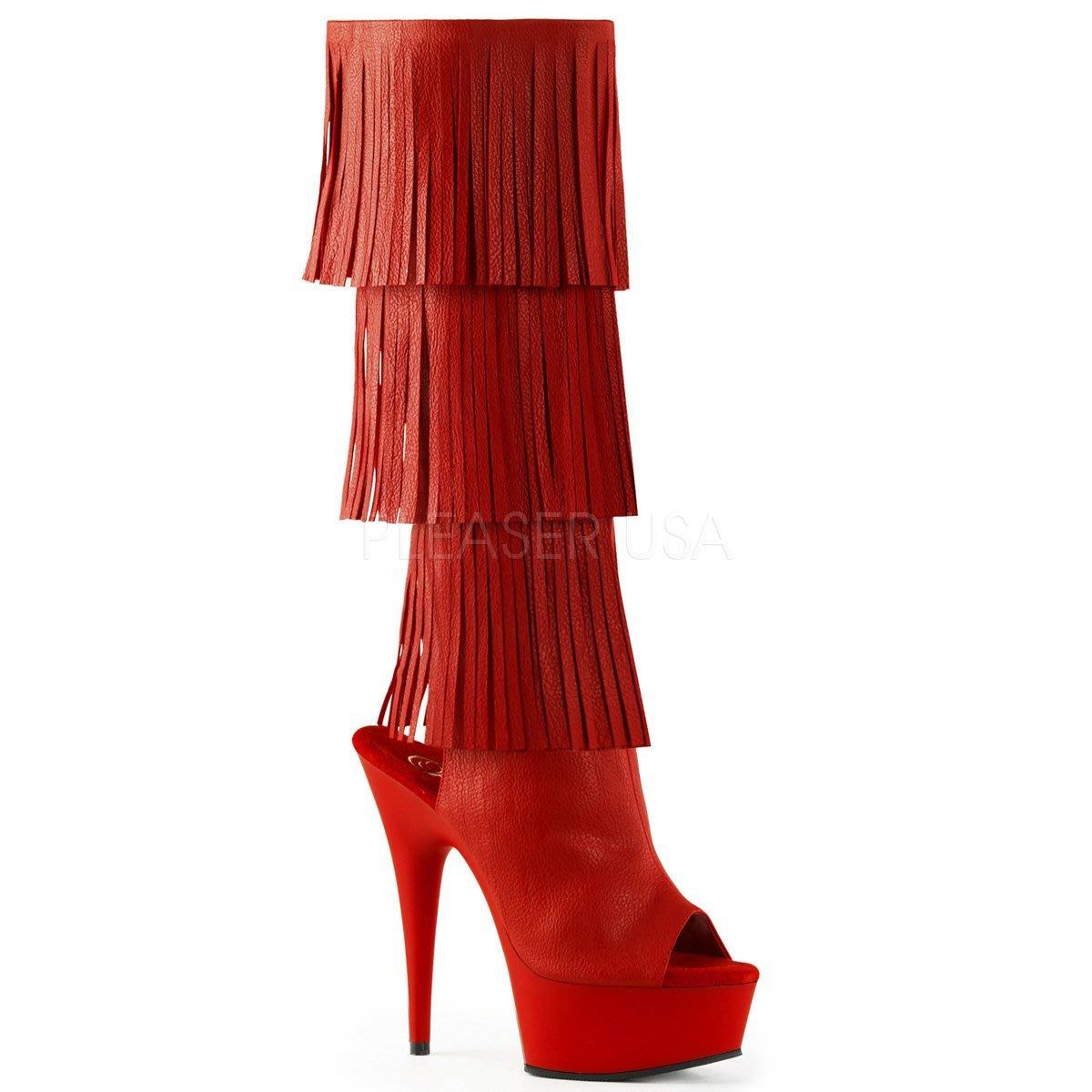 Shoes InStyle《六吋》美國品牌 PLEASER 原廠正品流蘇厚底高跟魚口及膝中長筒馬靴 出清『紅色』