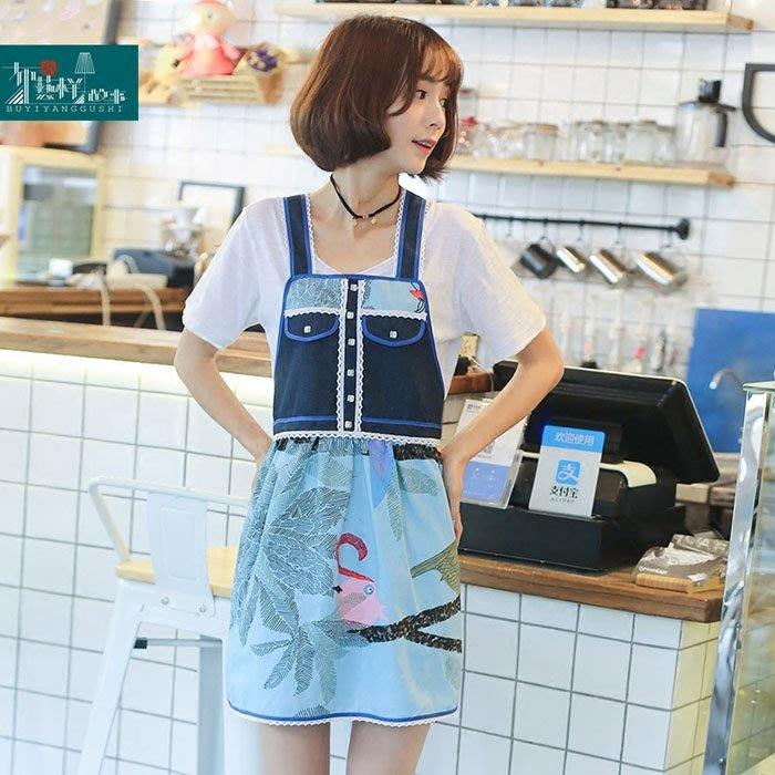 5Cgo【鴿樓】含稅會員有優惠 534809760884 原創韓版可愛文藝藍色鳥兒卡通圍裙設計師油畫畫圍裙廚房咖啡廳奶茶