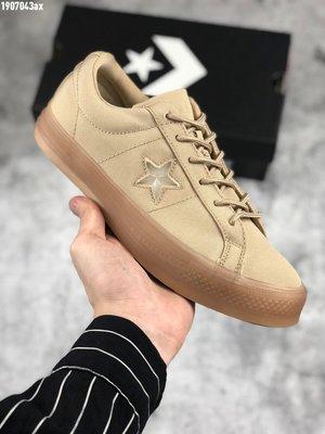 『Kiki專業代購』Converse onestar 匡威新款星星低幫復古休閒運動帆布板鞋 女生硫化鞋 卡其透明材質包裹