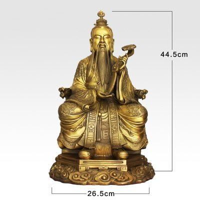 【凡了居】45厘米黃色靈寶天尊 純銅三清道祖神像擺件道教原始天尊太上老君人物銅像 雙福511