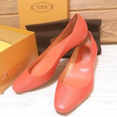 Auth 90%new Tod's 橙粉色OL lower heels wedding 低跟鞋 37